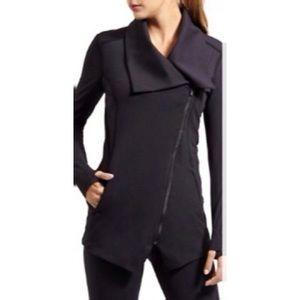 Yogalicious Black Foldover Asymmetrical Zip Jacket